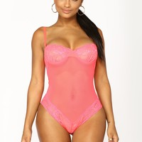 Sweetest Sin Mesh Teddy - Coral