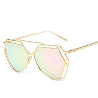 Hollow Sunglasses Women Pink Mirror Alloy Metal Frame Aviator Glasses Art Deco Europe Punk Classic Retro Cool Gafas De Sol