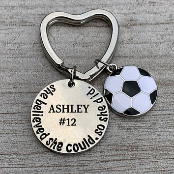Engraved Soccer She Believed She Could Keychain