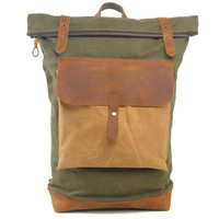 Lixmee canvas leather attached pockets backpack