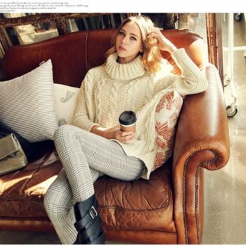 Retro Big Cable High Collar Knit Solid Color Sweater