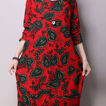 Streetstyle  Casual Floral Cotton/Linen Sack Shift Dress