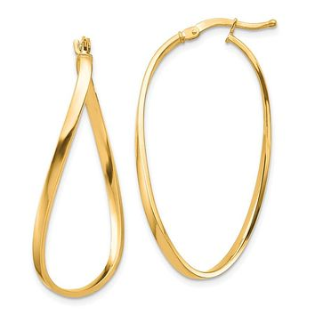 14k Yellow Gold Polished Wavy Hoop Earrings