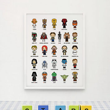 Cute Star Wars Alphabet A-Z Poster 11x16 on A3