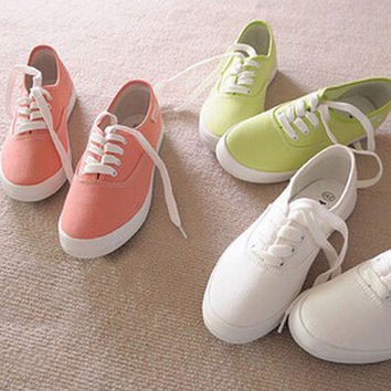 Women summer fashion low breathable candy solid color lace-up canvas female vintage flat lazy casual shoes 2015