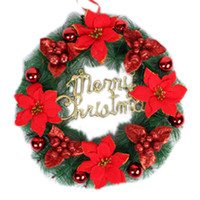 2016 Christmas Wreath 4 Colors Pine Needles Christmas Decoration For Home Party Diameter 30/40/50cm Navidad New Year Supplies