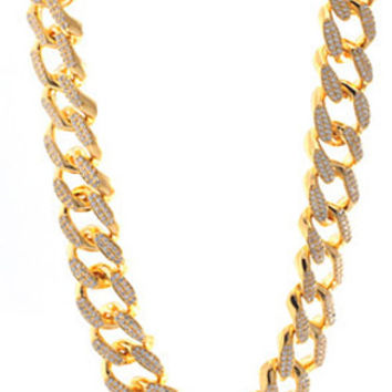 King Ice 14K Gold 18MM CZ Cuban Curb Chain