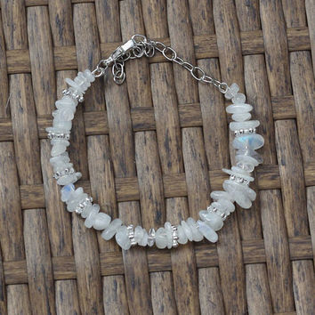 Moonstone Bracelet ~ Iridescent Chip Stones ~ Natural Irregular Stones ~ Healing ~ Wedding Wear ~ Prom ~ Graduation Gift ~ Anniversary