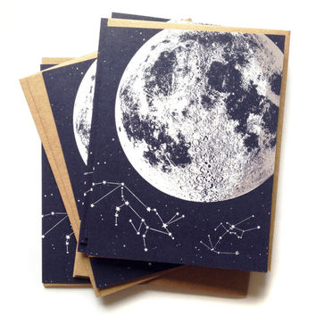 Single A2 size Moon Stars Greeting Cards, blank inside, original lunar constellation animal design, recycled paper, made in Portland Oreogn