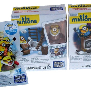 Lot of 3 Minions Snowball Fight Silly TV Series 3 Mystery Pack Mega Bloks Figure