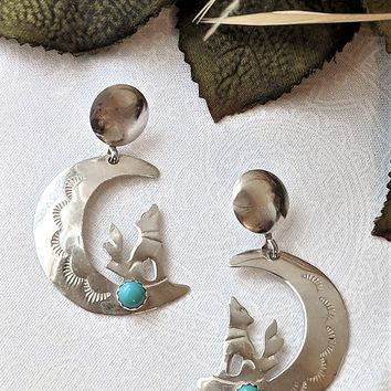Vintage Sterling Silver Turquoise Moon & Wolf Dangle Earrings