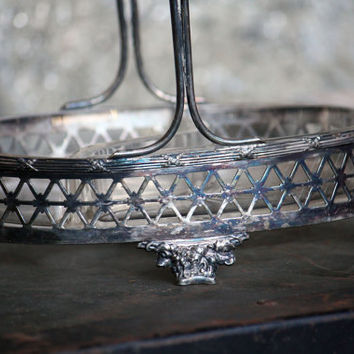 Vintage Silverplate Pierced Footed Handled Dish w/ Heavy Glass Bowl Handle Unique Candy Nut Basket Art Deco Meriden Silver Plate Co. 1800s