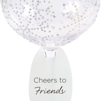 Pearl Snowflakes Cheers to Friends Hand Decorated Glass