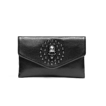 Large Envelope Clutch Wallet Skull Evening Leather Clutch Bag Punk Rivets Studded Clutch Handbag For Women Men