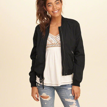 Girls Twill Bomber Jacket | Girls Jackets & Outerwear | HollisterCo.com