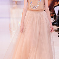 Illusion Tulle Plisse Long Skirt by Rochas - Moda Operandi