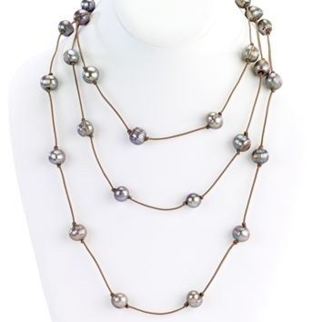 Leather Strand Necklace with Pearls