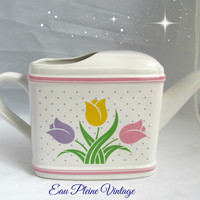 Tulips Flower Pot Watering Can Home Decor Plants Teleflora Gift Valentine Easter Spring