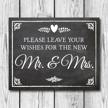 Chalkboard Wedding Sign, Printable Wedding Sign, Wedding Leave Your Wishes Sign, Wedding Decor, Instant Download, Wedding Guest Book Sign
