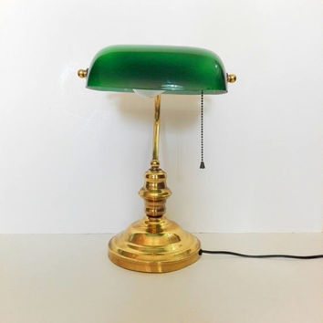 French Banker's, Vintage desk lamp, table lamp, opal glass, green glass, brass lamp, desk lamp, french vintage, desk office, french chic