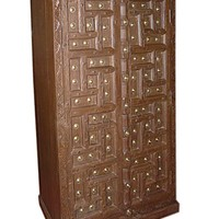 Vintage Hand Carved India Cabinet Teak Rustic Armoire Indian Furniture