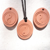 Aromatherapy Essential Oil Clay Diffuser Yin Yang Pendant, Handmade Terracotta Bisque Ceramic, Oval Unglazed eco-friendly