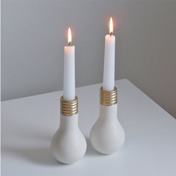 Porcelain Light Bulb Candlesticks The by EcoElements on Etsy