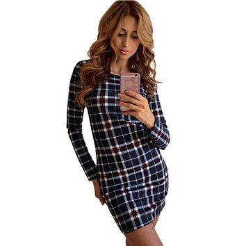 Fashion OL Slim Dress Autumn Plaid Sexy Dress Street Wear Elegant Women Dresses Vestidos