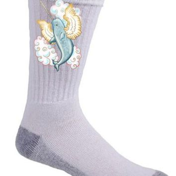 Flying Whale Mythical Narwhal Wings in Clouds Crew Socks Pair Comfort Feet New | eBay