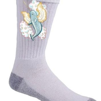 Flying Whale Mythical Narwhal Wings in Clouds Crew Socks Pair Comfort Feet New   eBay