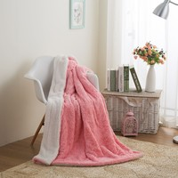 DaDa Bedding Luxury Rose Buds Baby Pink Faux Fur w/ Sherpa Backside Fleece Throw Blanket (BL-171752)
