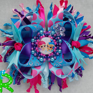 Shimmer and Shine hair bows Genies boutique bow ,layered bow , stacked bow