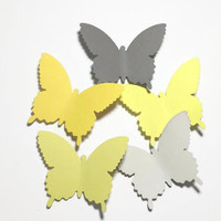 50 Yellow And Gray Butterfly Die Cuts, Yellow Paper Butterfly, Butterfly Decor, Gray And Yellow Baby Shower,  Butterfly Party