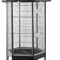 HQ Hexagonal Bird Flight Aviary 34x68 Black