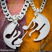 Guitar and music note necklaces, Interlocking instruments hand cut coin