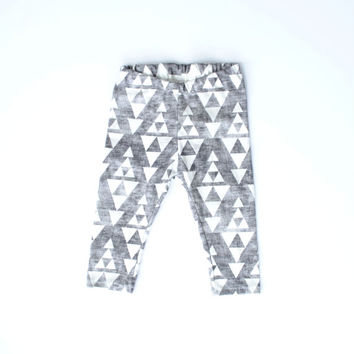 Organic baby leggings toddler leggings hipster charcoal arrows triangle leggings