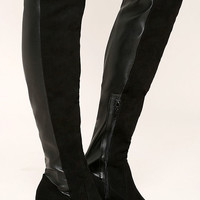 Report Jetsan Black Suede Over the Knee Boots