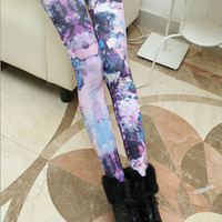 Purple Abstract Print Elastic Waist Leggings