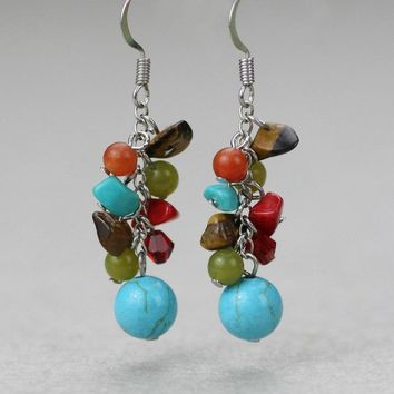 Turquoise chunky dangling earrings Bridesmaids gifts Free US Shipping handmade Anni Designs