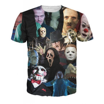 2015 summer style Harajuku t shirt Men/Women horror movie killer role Print 3d t shirt camisa masculina size plus S-XXL = 1917062852