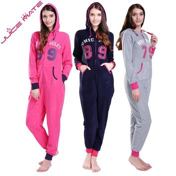 JuiceMate Plus Size All In One Piece Tracksuit Playsuit Onesuit Micro Fleece Letters Overalls Onesuit Romper Jumpsuit For Women