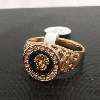 Versace New Fashion Plated 18K gold lion head men's ring foreign trade jewelry