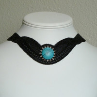 Black lace necklace with large round turquoise gemstone by Arthlin