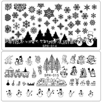 Nail Art Stamping Plate Self Design Christmas Halloween Skull Flakes Spider Ghost Snowman 3d Manicure Stencil Template Diy Nails