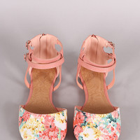 Soda Floral Ankle Straps Dorsay Flats