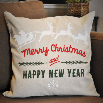 Merry Christmas &Happy New Year, Santa's Sleigh Christmas pillow cover