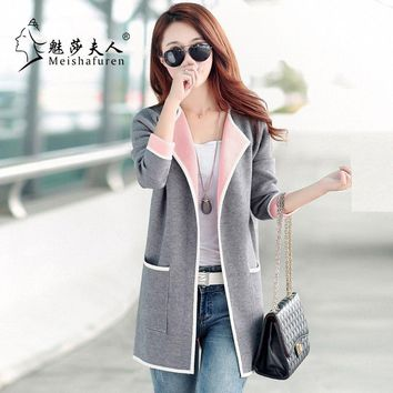 Donna Ladies New 2018 Spring and Autumn Long Cardigan Female Crochet Cardigan Sweater Women Knitted Loose coat W7C