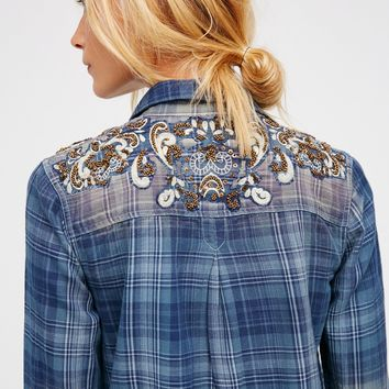 Free People Stevie's Embellished Plaid Buttondown