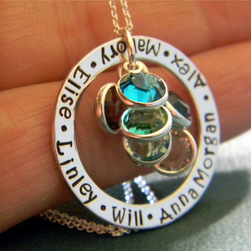 """Mother, Grandmother, Nana Solid Sterling Silver Personalized Custom Made Hand Stamped 6, Six Name Necklace on 1"""" Washer with Birthstones"""