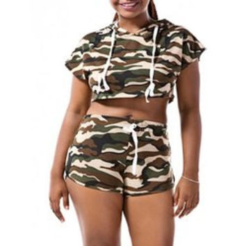 Hooded Camo Crop Top with Shorts